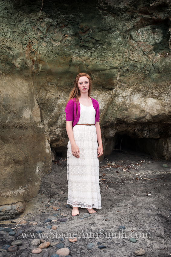 swami's beach, color photograph,encinitas, lace dress, high school senior portrait, girl, strawberry blond