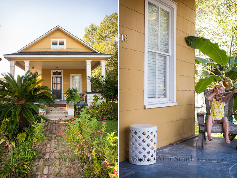 yellow house, front porch, kid with a trombone, #stacieannsmith,