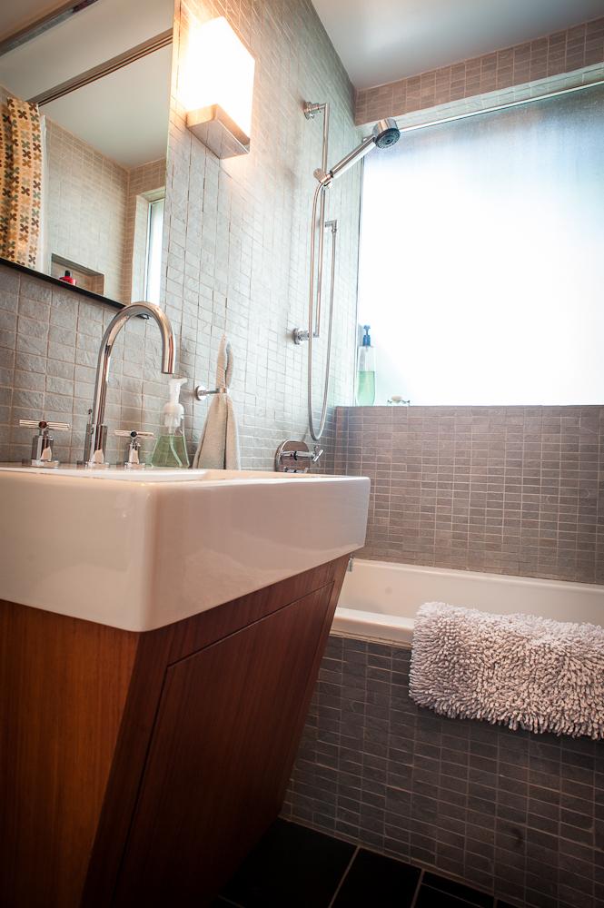 mid century modern bathroom, mosaic tile, mahogany bathroom vanity